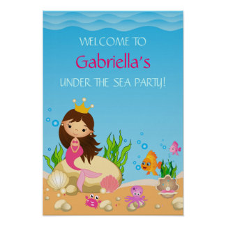 Under the Sea Mermaid Birthday Party Poster