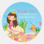 Under the Sea Mermaid Birthday Party Sticker Round Sticker