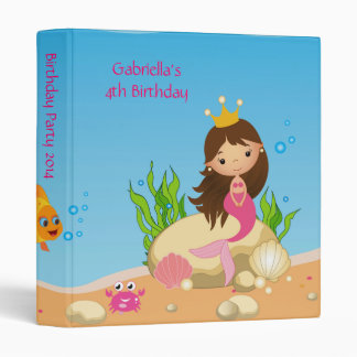 Under the Sea Mermaid Birthday  Photo Album 3 Ring Binder