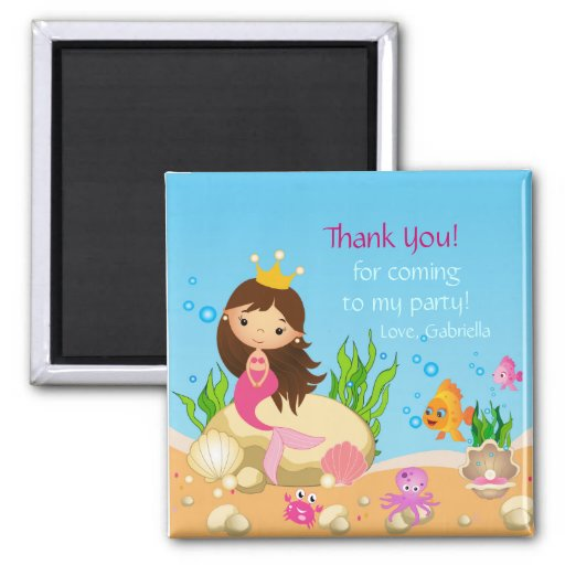 Under the Sea Mermaid Birthday  Thank You Magnet Magnet