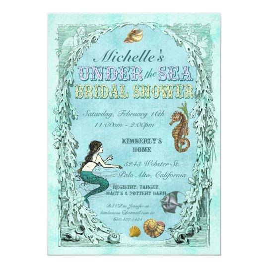 Under the sea mermaid bridal shower invitation zazzle under the sea mermaid bridal shower invitation filmwisefo