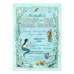 Under the sea bridal shower invitations announcements zazzle under the sea mermaid bridal shower invitation filmwisefo Images