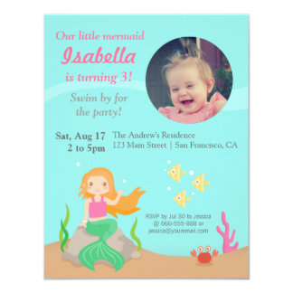 Under the Sea,Mermaid Girl Birthday Party Photo 4.25x5.5 Paper Invitation Card