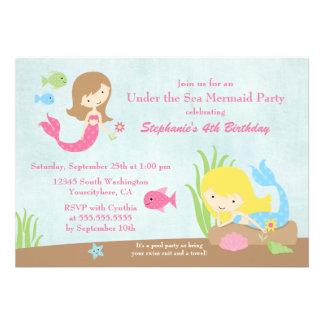 Under the sea mermaid girl s birthday party invite