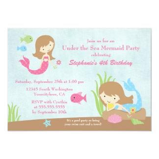 "Under the sea mermaid girl's birthday party invite 5"" x 7"" invitation card"