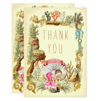 Under The Sea Mermaid Princess Thank You Card