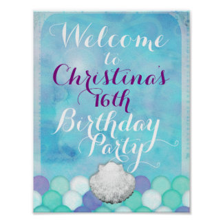Under The Sea Mermaid Scales Welcome Table Sign Poster