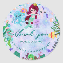 Under the Sea Mermaid Theme Birthday Thank You Classic Round Sticker