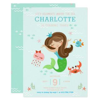 Under the Sea Mermaid with Brown Hair Kids Card