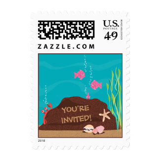 Under the Sea Mermaid You're Invited Party Sticker Postage