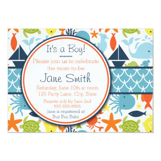 Under the Sea, Nautical Baby Shower 5x7 Paper Invitation Card