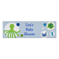 Under the Sea Nautical Baby Shower Banner Sign Poster