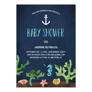 Under the Sea | Nautical Baby Shower 5x7 Paper Invitation Card