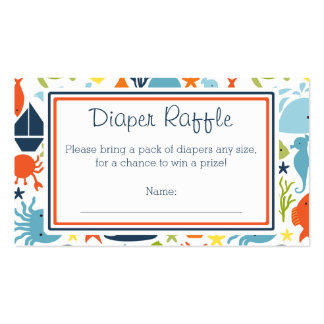 Under the Sea, Nautical Diaper Raffle Ticket Business Card