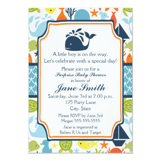 Under the Sea, Ocean Animals Baby Shower 5x7 Paper Invitation Card