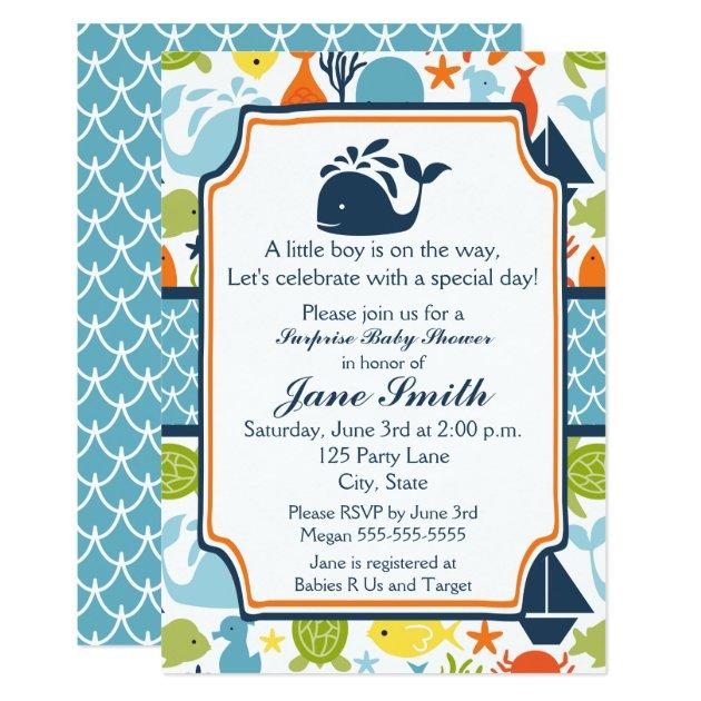 Sea Ocean Animals Baby Shower Invitation