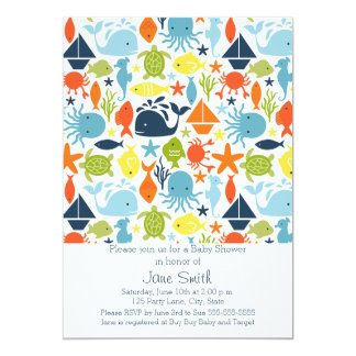Under the Sea, Ocean Creatures Baby Shower Card