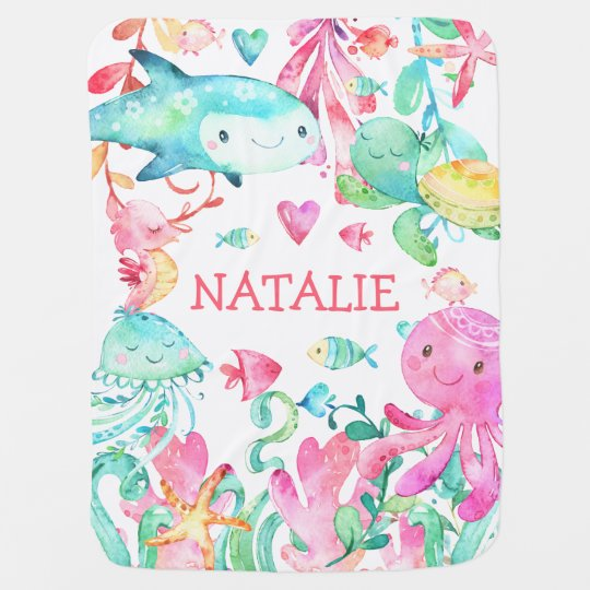 Under the Sea Ocean Cute Baby Girl Personalized Baby Blanket