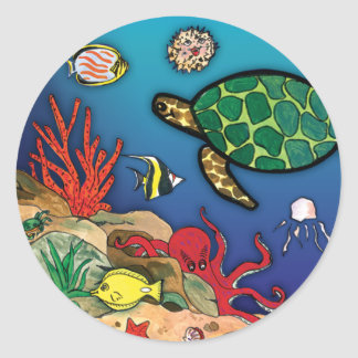 Under the Sea- Ocean Life Classic Round Sticker