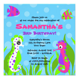 Under the Sea Ocean Themed Kids Birthday Party Custom Invitations