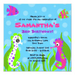 Under the Sea Ocean Themed Kids Birthday Party 5.25x5.25 Square Paper Invitation Card