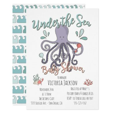 Toddler & Baby themed Under the Sea Octopus Baby Shower Card