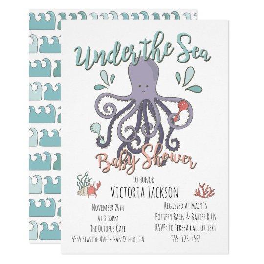 Under The Sea Octopus Baby Shower Invitation