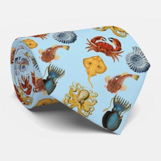 under the sea octopus, shells, crab. Aqua blue Neck Tie