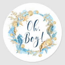 Under the Sea | Oh Boy Baby Shower Classic Round Sticker