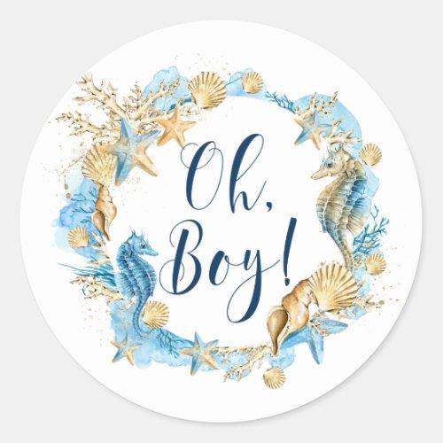 Under the Sea  Oh Boy Baby Shower Classic Round Sticker