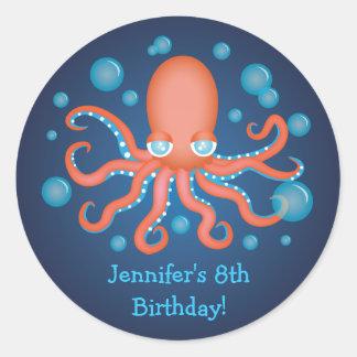 Under the Sea Orange Octopus Birthday Stickers