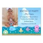 """Under The Sea Photo Birthday Invite 5"""" X 7"""" Invitation Card"""