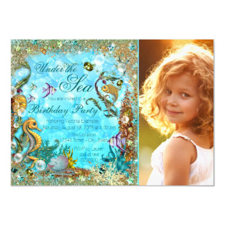 Under the Sea Photo Birthday Party Card