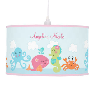 Baby girl for nursery table pendant lamps zazzle for Baby girl nursery lighting