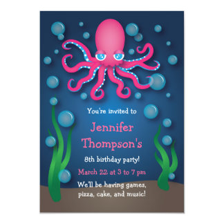 "Under the Sea Pink Octopus Birthday Invitations 5"" X 7"" Invitation Card"