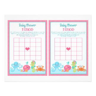 "Under the Sea/Pink Whale ""Baby Shower Bingo"" sheet"