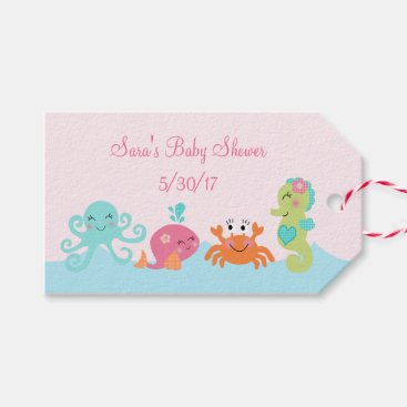 Toddler & Baby themed Under the Sea Pink Whale Baby Shower Favor Tags