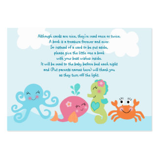 Under the Sea/Pink Whale Favor Tag/Card Large Business Card