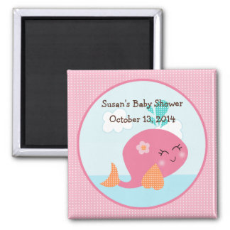 Under the Sea/Pink Whale Magnet/Party Favor 2 Inch Square Magnet