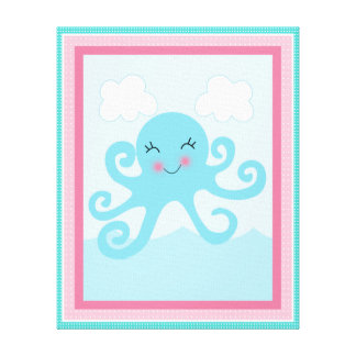 Under the Sea/Pink Whale/Octopus Canvas Art Canvas Print