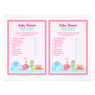 """Under the Sea/Pink Whale """"Price is Right"""" Game 8.5"""" X 11"""" Flyer"""