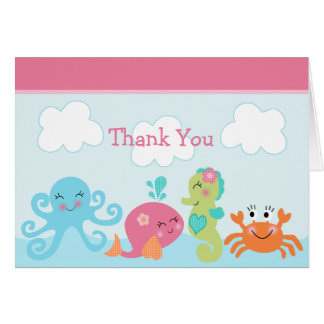 Under the Sea Pink Whale Thank You card folded