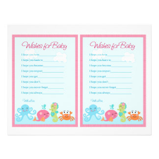"""Under the Sea/Pink Whale """"Wishes for Baby"""" notes Flyer"""