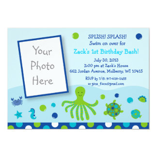 Under the Sea Pool Party Birthday Invitations