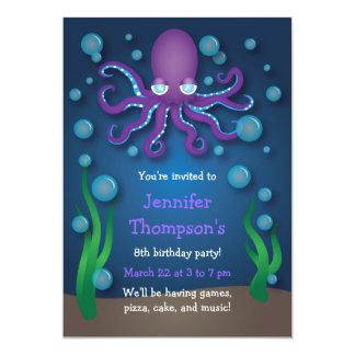 "Under the Sea Purple Octopus Birthday Invitations 5"" X 7"" Invitation Card"