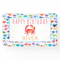 Under The Sea Rainbow Fish Birthday Baby Shower Banner