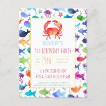 Under The Sea Rainbow Fish Birthday Baby Shower Invitation Postcard