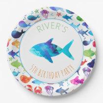 Under The Sea Rainbow Fish Birthday Baby Shower Paper Plate