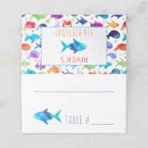 Under The Sea Rainbow Fish Birthday Baby Shower Place Card