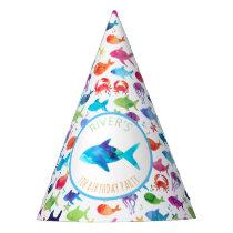 Under The Sea Rainbow Watercolor Fish Birthday Party Hat